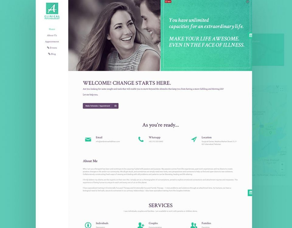 Clinical Psychologist - Ambreen Rashid Khan - Web Design and Development for Clinical Psychologist - Ambreen Rashid Khan by Abdul Mateen - Graphic Designer & Front-End-Developer