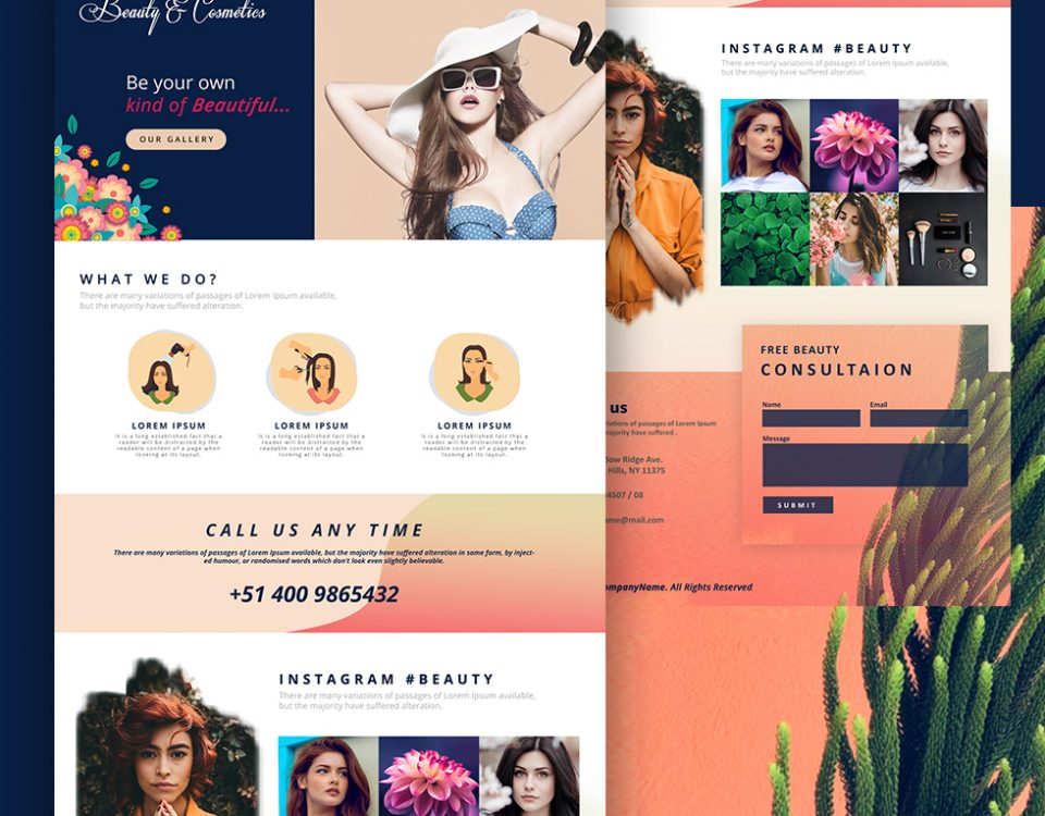Beauty & Cosmetics landing - Web Design by Abdul Mateen - Graphic Designer & Front-End-Developer - Islamabad, Pakistan