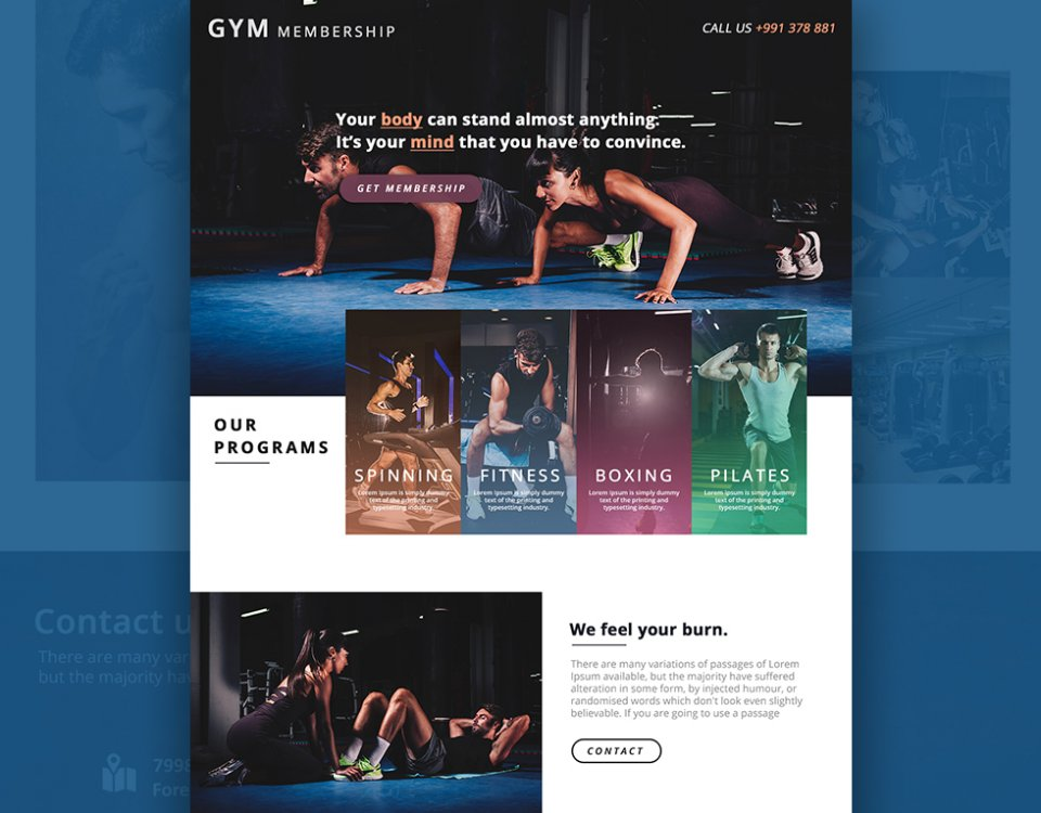 Gym Membership landing - Web Design by Abdul Mateen - Graphic Designer & Front-End-Developer - Islamabad, Pakistan