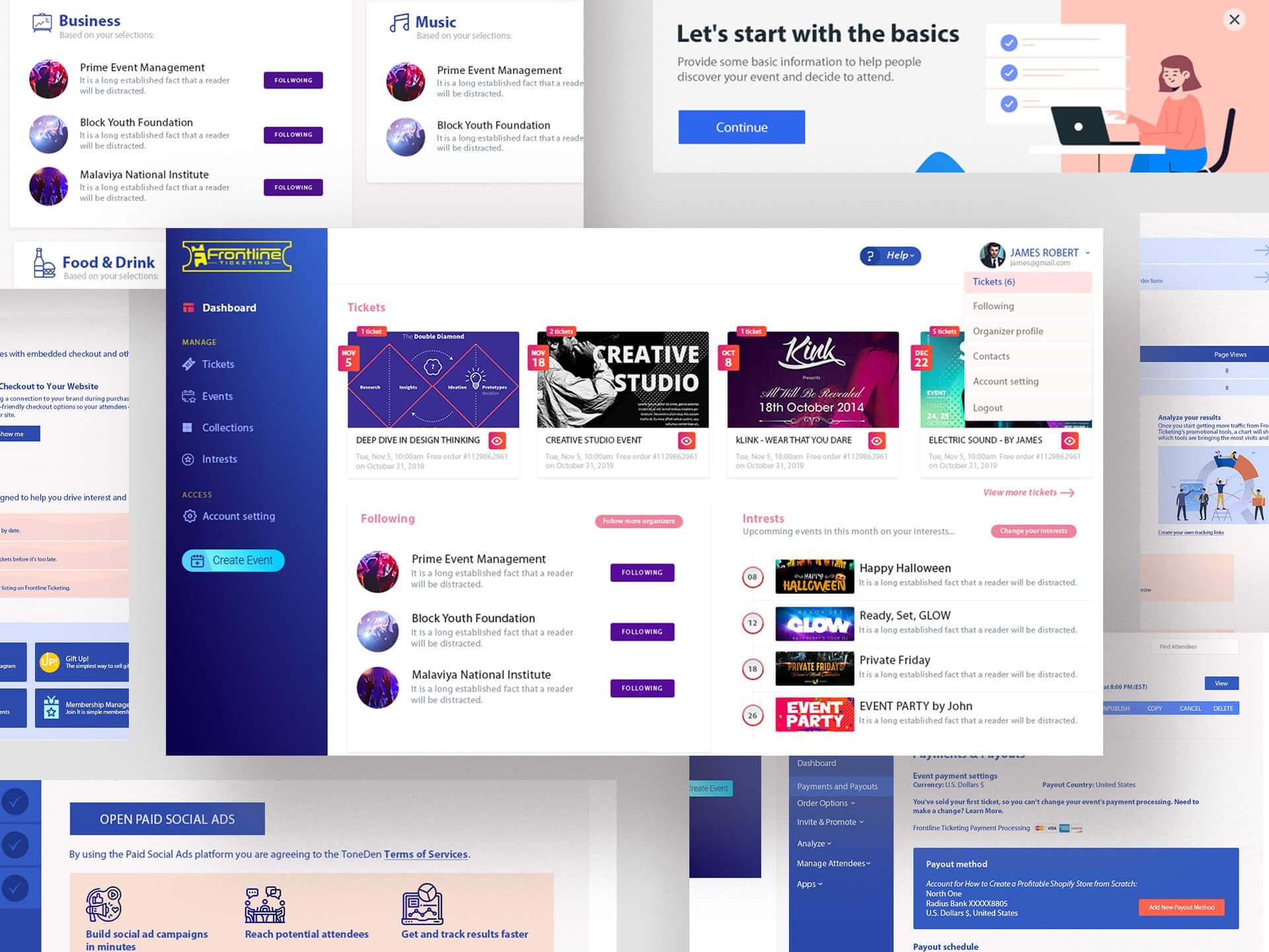 Frontline Ticketing - Web Application Mockup